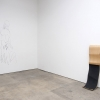 Installation view, Cristóbal Lehyt and Michelle Lopez<br> Michelle Lopez, <i>Your Board</i>, 2011, maple plywood and grip tape