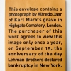 Alfredo Jaar, <i>September 15</i>, 2009, manila envelope with text and photograph, edition of 21