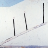 Mernet Larsen<br> <em>Escalator,</em> 1988<br>  Acrylic and mixed media on canvas<br> 54 x 59 inches (137 x 150 cm)