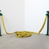 <em>Faucets and Yellow Hose</em>, 2011<br> Felt and thread<br> 3.5 x 22 x 3 inches, Each Faucet
